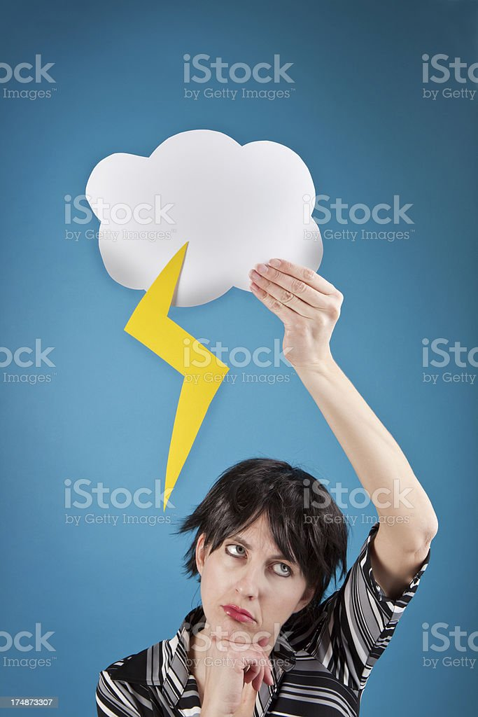 Depressed Woman Holding Rain Cloud Over Head royalty-free stock photo
