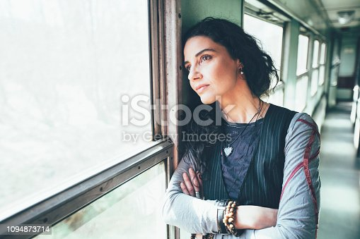 Depressed woman in a train