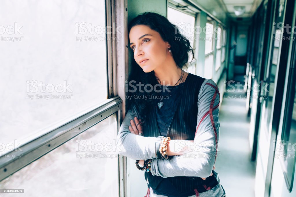 Depressed woman stock photo