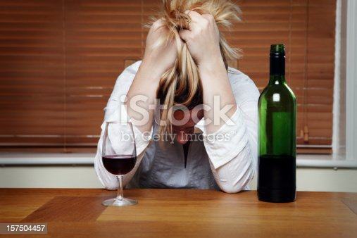 istock Depressed Woman with Red Wine 157504457