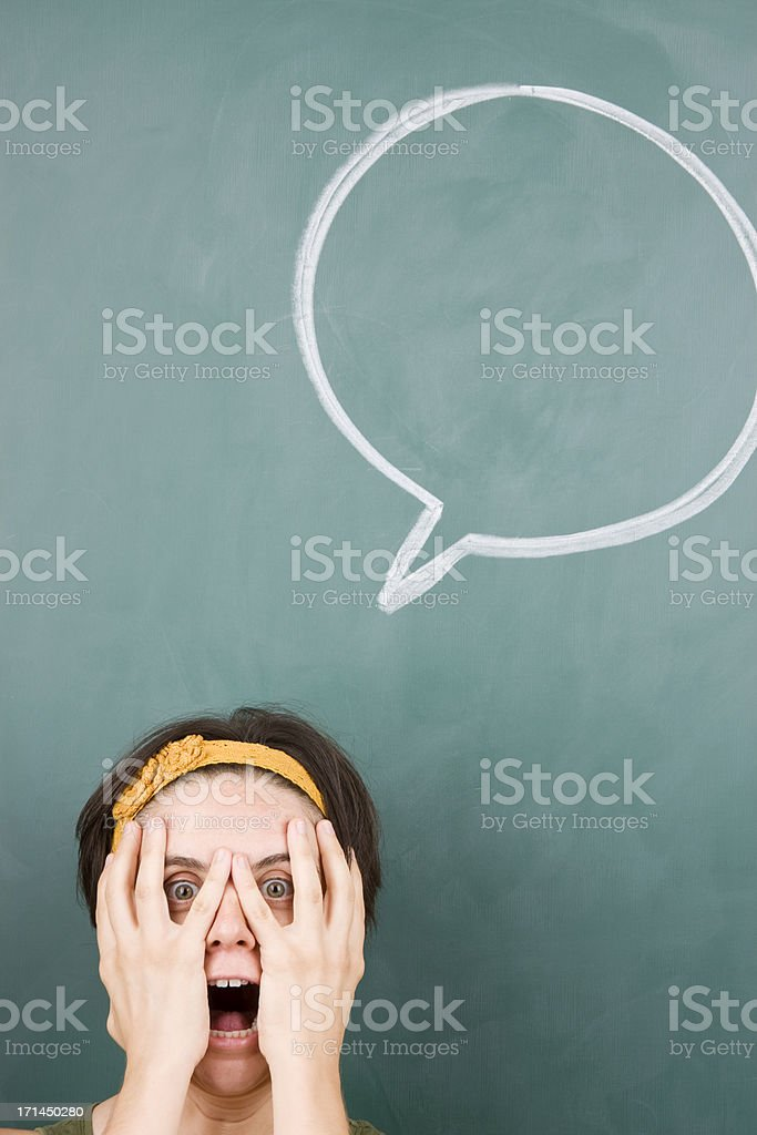 Depressed woman with speech bubble royalty-free stock photo