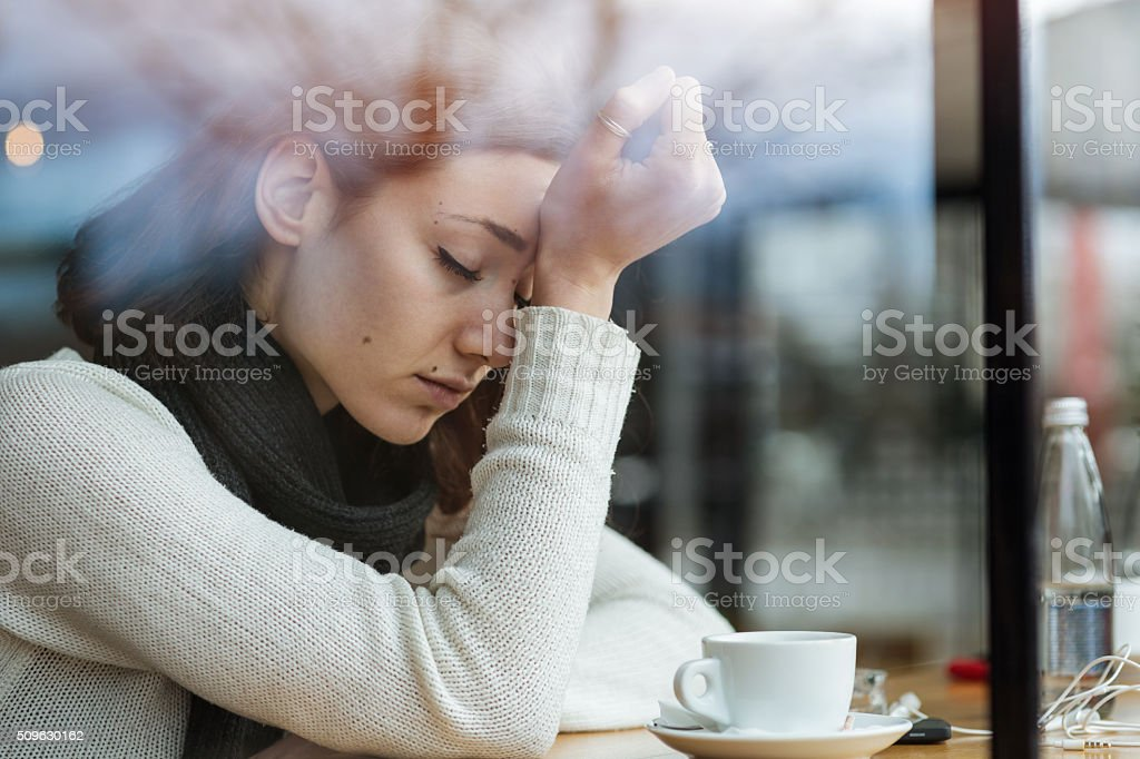 Depressed young girl stock photo