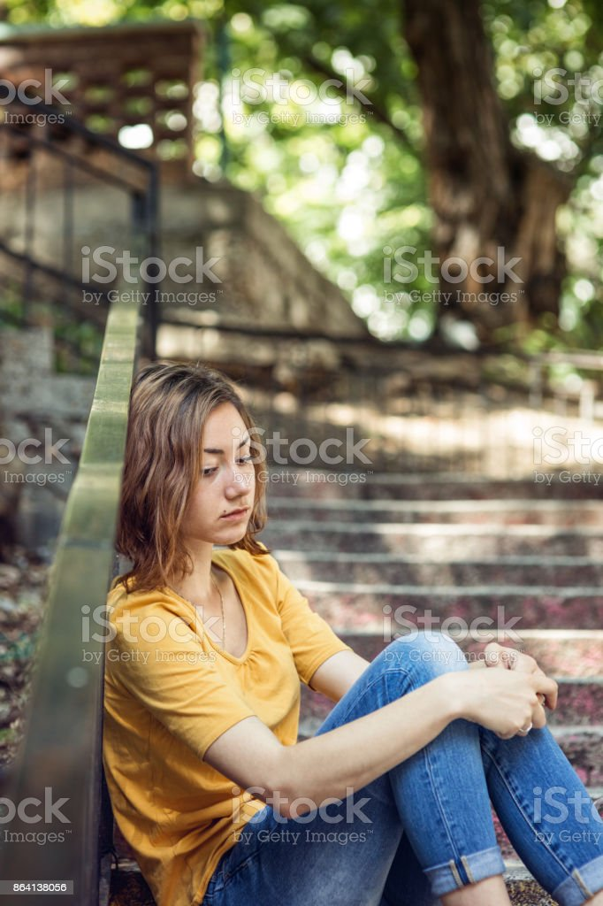 Depressed young girl royalty-free stock photo