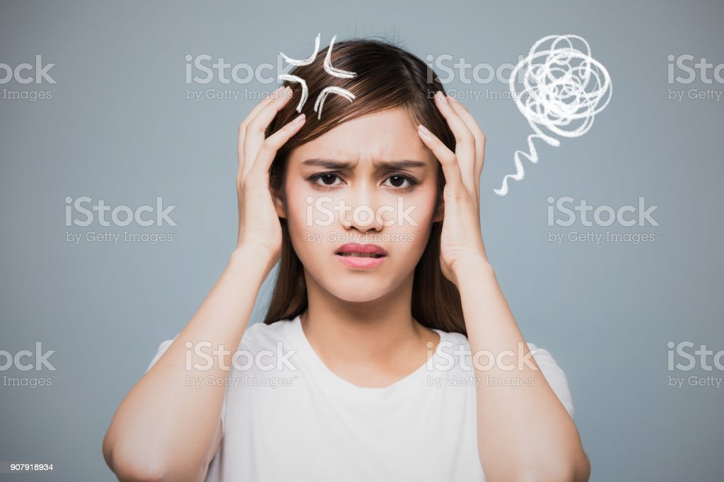 Depressed young woman. stock photo