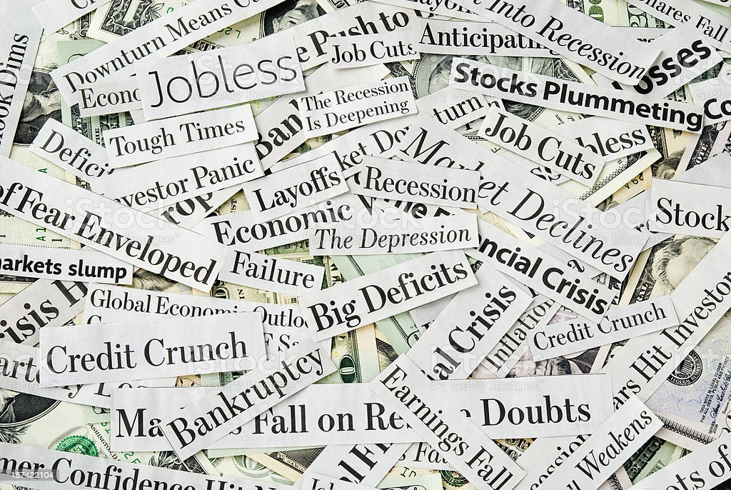 Depressing economy news - XIII stock photo