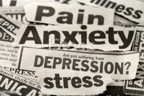 news print cuttings with depression theme