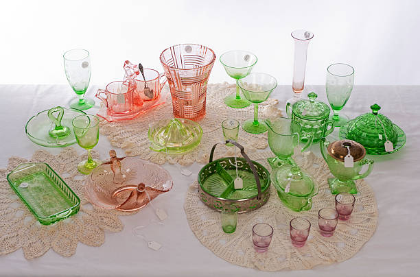 Depression Glass Collection At An Estate Sale stock photo