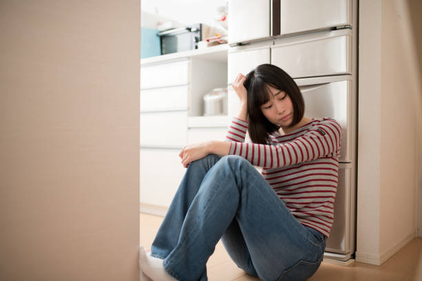 depression image of young woman - stay at home parent stock pictures, royalty-free photos & images