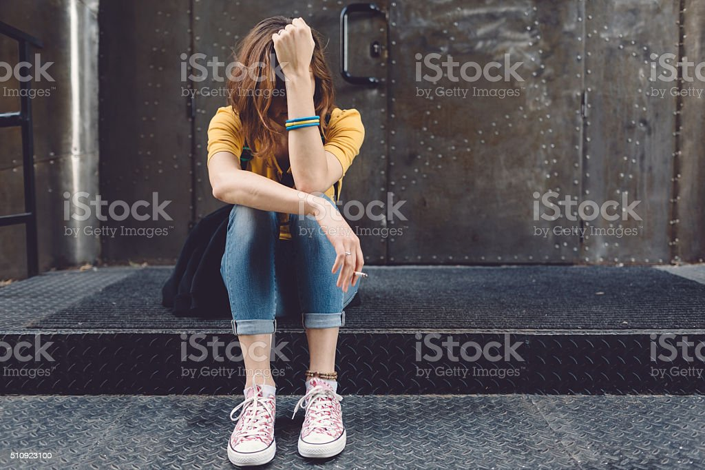 Depression in teenagers stock photo