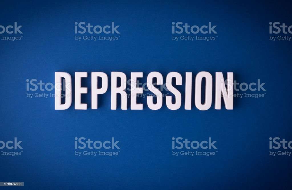 Depression lettering sign stock photo
