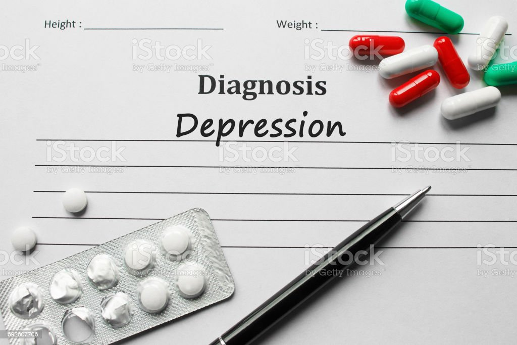 Depression on the diagnosis list, medical concept stock photo