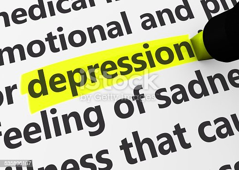 Head disease and illness concept with a close-up 3d rendering of depression text highlighted with yellow marker.