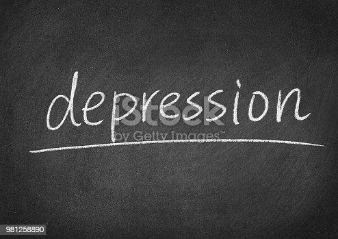 depression concept word on a blackboard background
