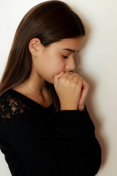 Depressive young girl stock photo