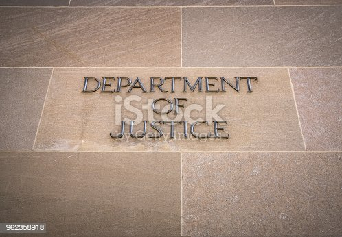Close up of federal Department of Justice Building in Washington DC