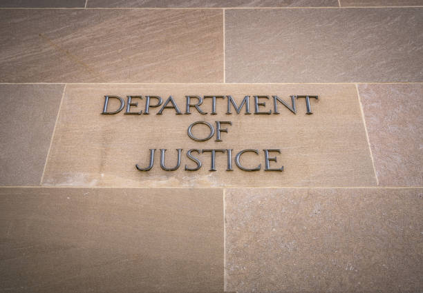 U.S. Dept of Justice Sign stock photo
