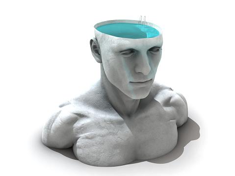 Meditation: Half pool head man. Every human is a deep structure. Thinking man.