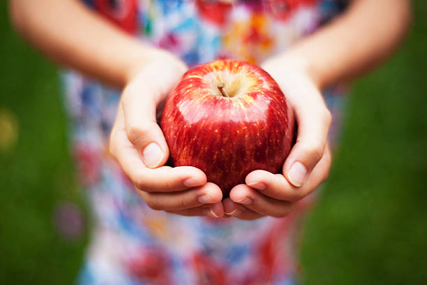 Depth of field apple held by a girl in colored dress outside stock photo