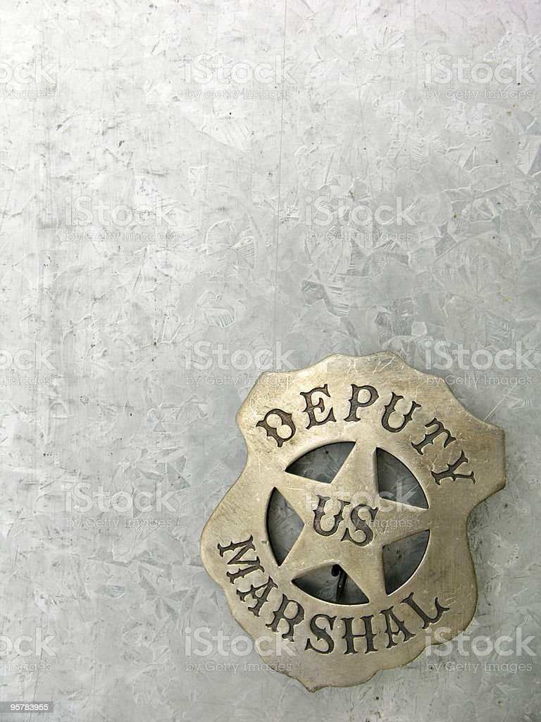 Deputy Marshal Badge with Text Space royalty-free stock photo