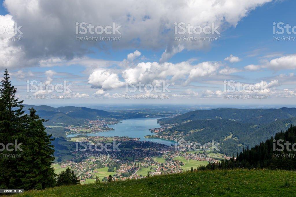 Der Blick vom Wallberg auf den Tegernsee stock photo