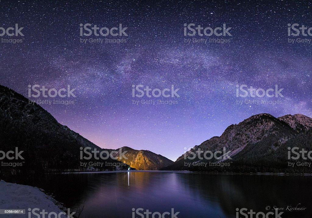 Der Plansee Nachts stock photo