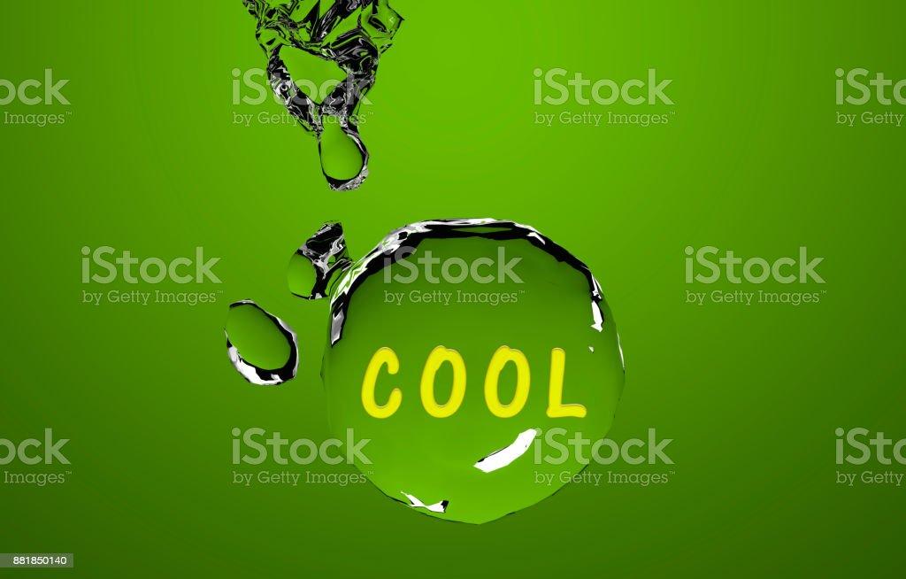 Der Text Cool Auf Einer Grünen Wasserkugel. – Foto