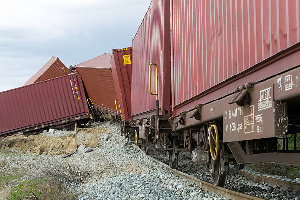Derailed train coaches at the site of a train accident
