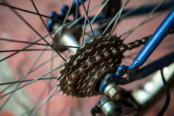 Derailleur on a bicycle stock photo