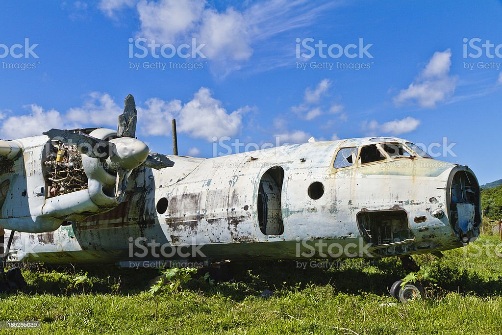 Derelict Aircraft, Grenada W.I. stock photo