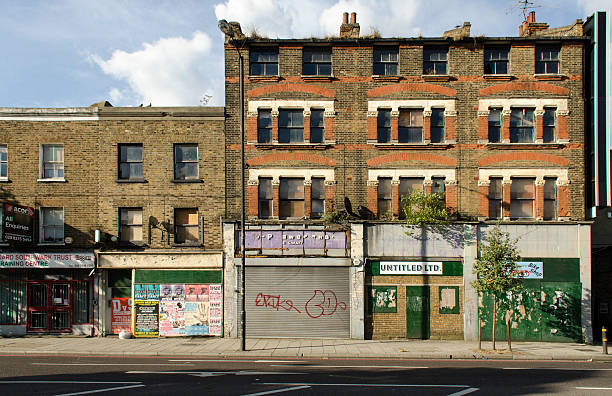 derelict and neglected buildings, old kent road, london - old kent road stock photos and pictures
