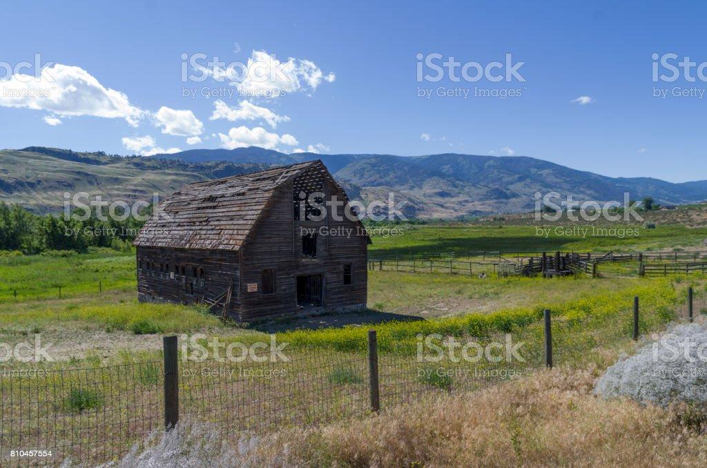 Derelict barn on John Carmichael Haynes homestead, Oliver BC stock photo