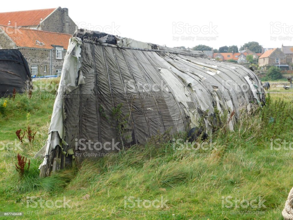 A Derelict Boat on Lindisfarne (The Holy Island) stock photo