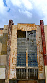 Facade of an Derelict Cinema in Willemstad on the Caribbean Island Of Curacao