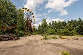 Derelict ferris wheel ruins on playground (Pripyat/Chernobyl)