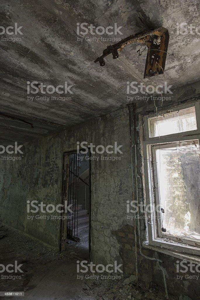 Derelict internal area of a building (Pripyat/Chernobyl) royalty-free stock photo