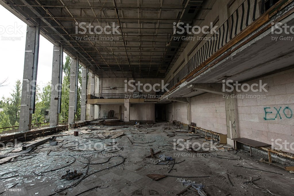 Derelict internal area - Palace of Culture (Pripyat/Chernobyl) royalty-free stock photo