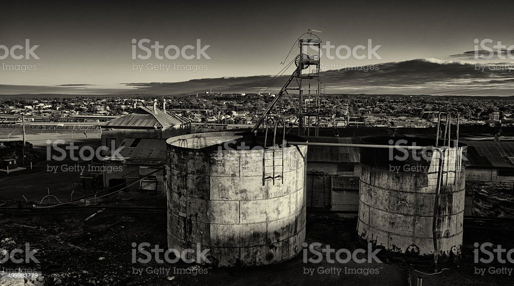 Derelict mine workings in Broken Hill stock photo