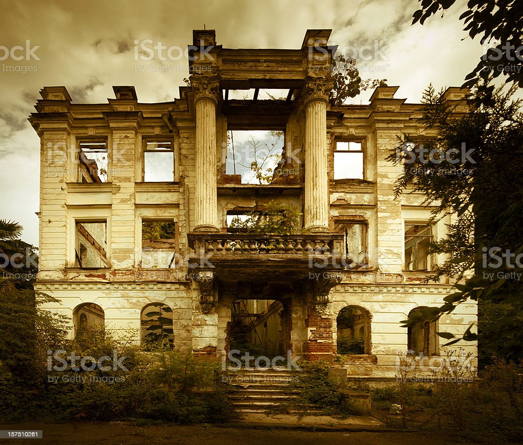 Derelict old style building stock photo