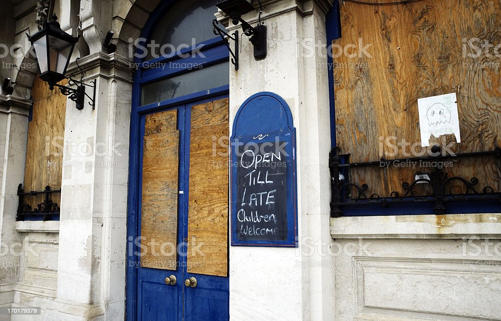 Derelict pub stock photo