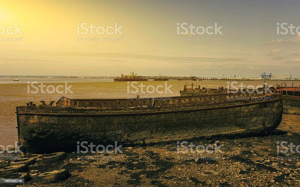 Derelict ship on bank of Humber Estuary, Yorkshire, UK. stock photo