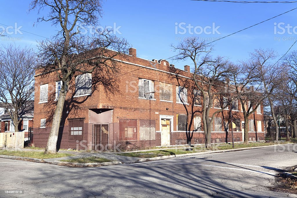 Derelict Slum apartment building in West Englewood, Chicago royalty-free stock photo