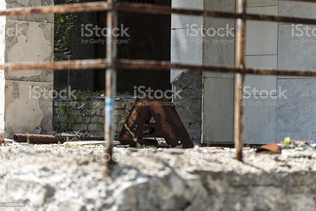 Derelict town scene - Close up, Pripyat/Chernobyl royalty-free stock photo