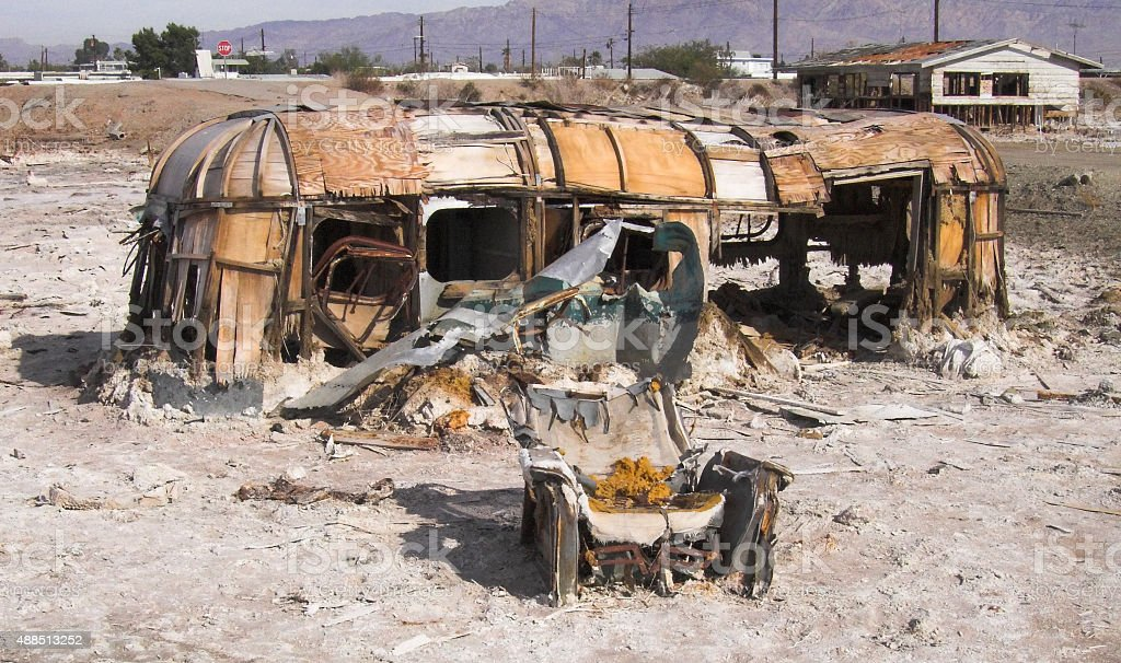 Derelict Travel Trailer at Bombay Beach California stock photo