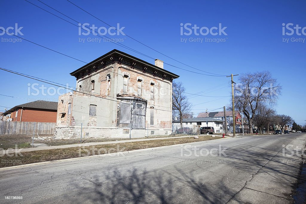 Derelict Victorian Mansion in Chicago royalty-free stock photo