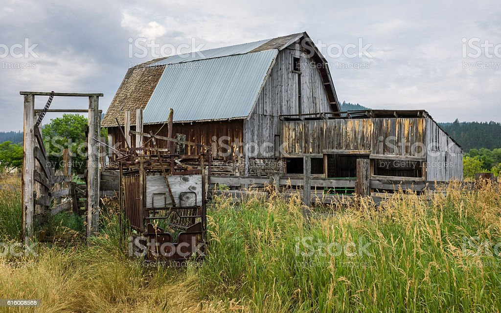 Derelict wooden barn, Indian reservation, Montana, USA. stock photo