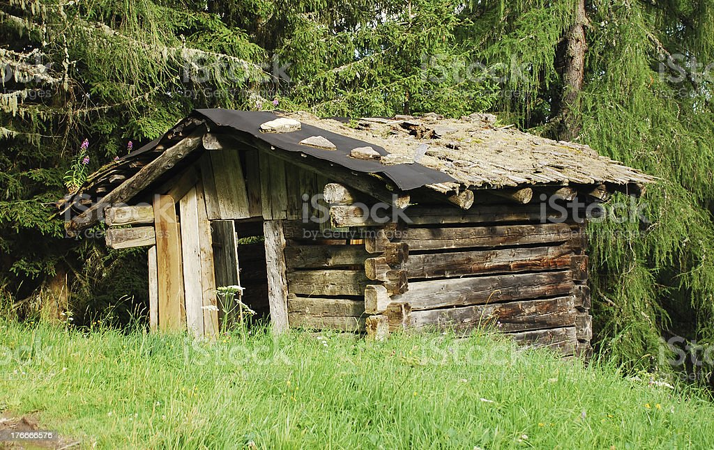 Derelict Wooden Mountain Shack royalty-free stock photo