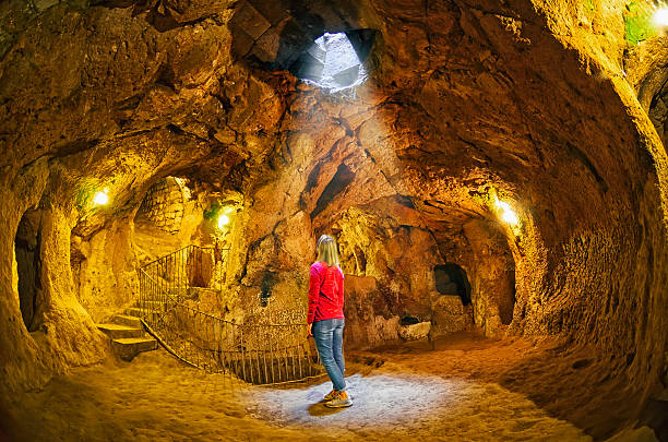 Derinkuyu cave  underground city, Cappadocia stock photo