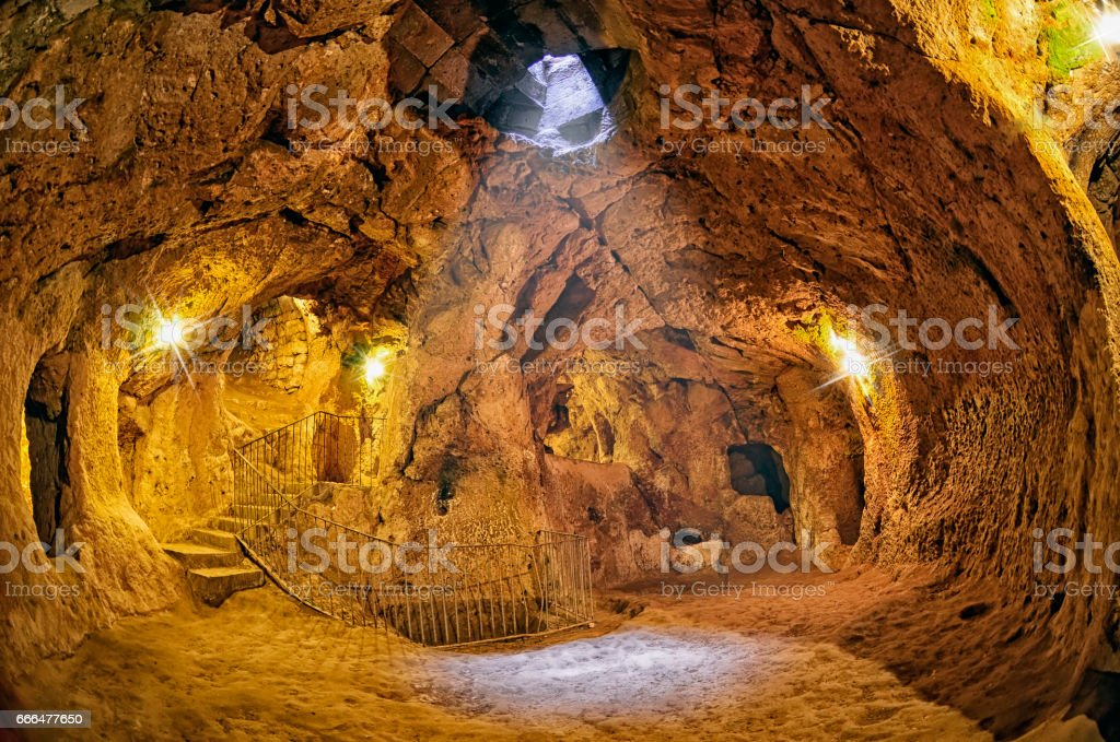 Derinkuyu cave  underground city, Cappadocia stock photo
