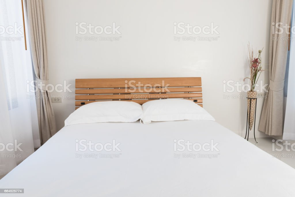 dern bedroom  with beautiful  white and beige curtains background,close up stock photo