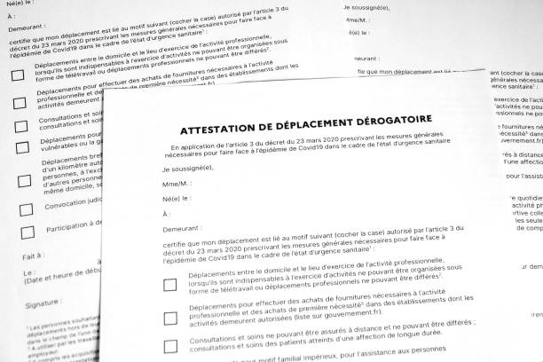 derogatory displacement certificate covid 19 in france - assertiveness stock pictures, royalty-free photos & images